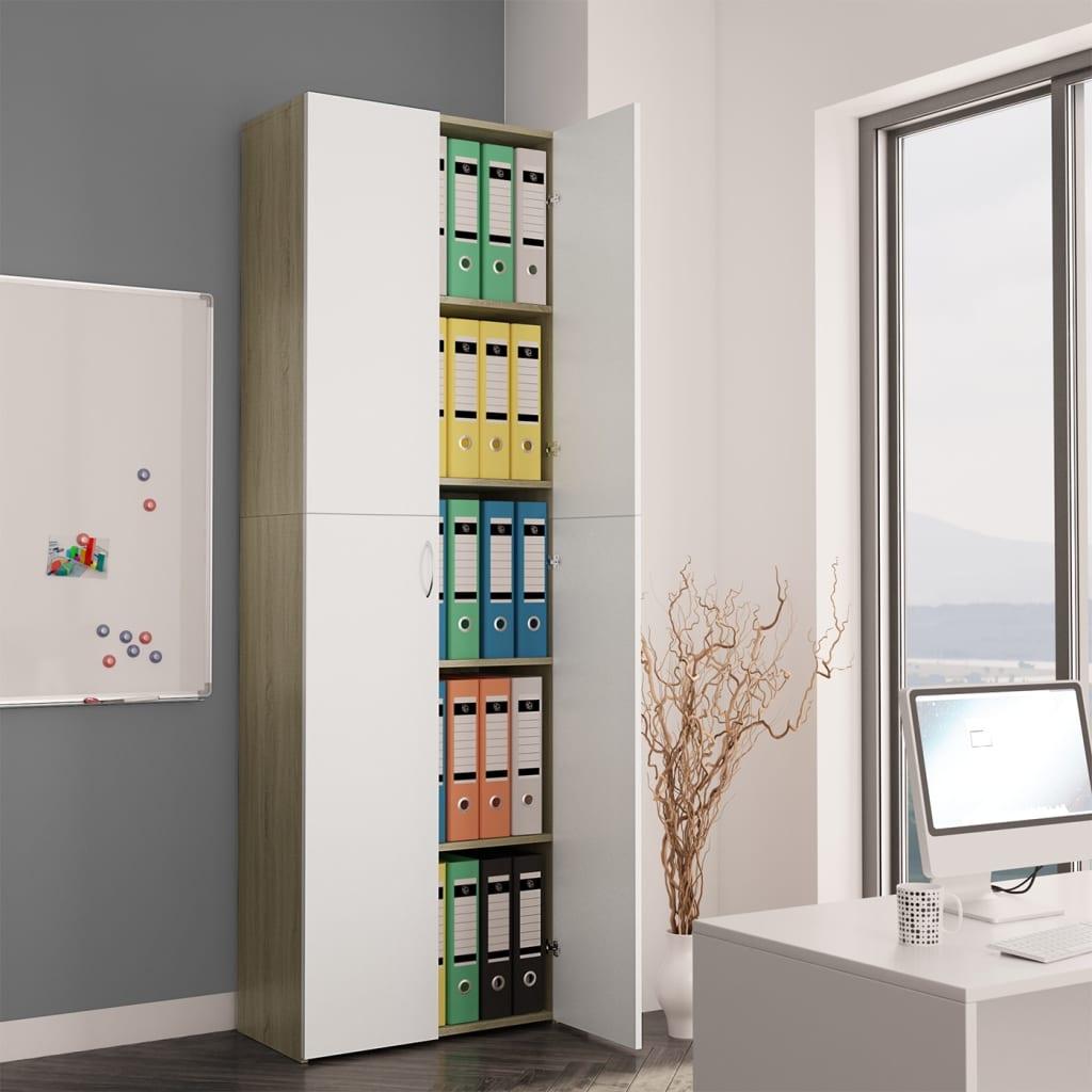 vidaXL Dulap de birou, alb și stejar Sonoma, 60x32x190 cm, PAL imagine vidaxl.ro