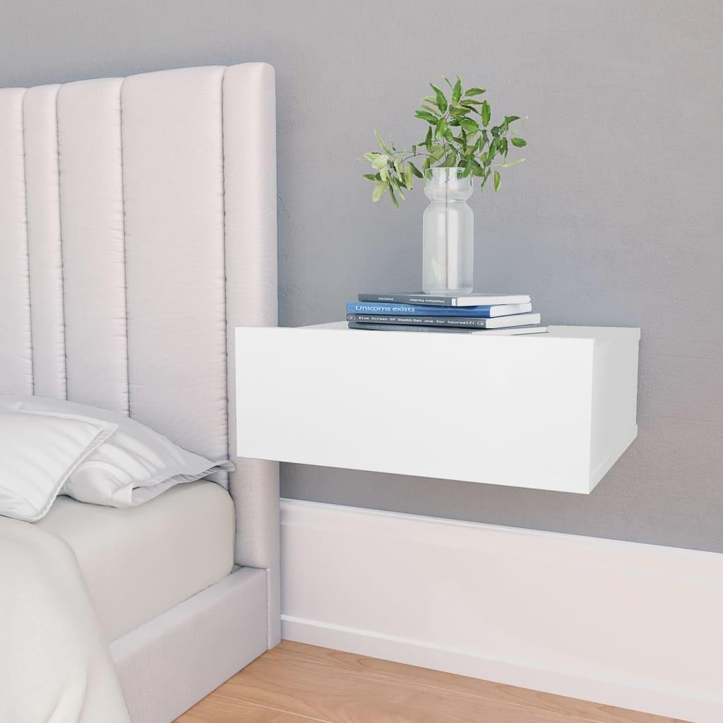 vidaXL svævende natborde 2 stk. 40 x 30 x 15 cm spånplade hvid