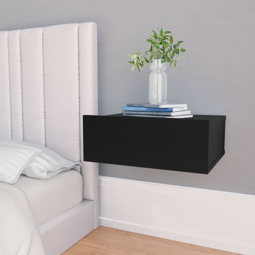 Nástěnný noční stolek černý 40 x 30 x 15 cm dřevotříska