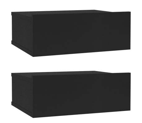 vidaXL Floating Nightstands 2 pcs Black 40x30x15 cm Chipboard