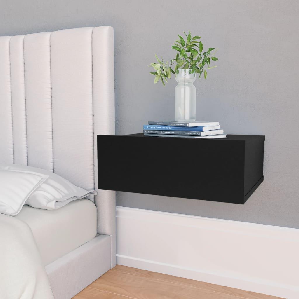 vidaXL svævende natborde 2 stk. 40 x 30 x 15 cm spånplade sort