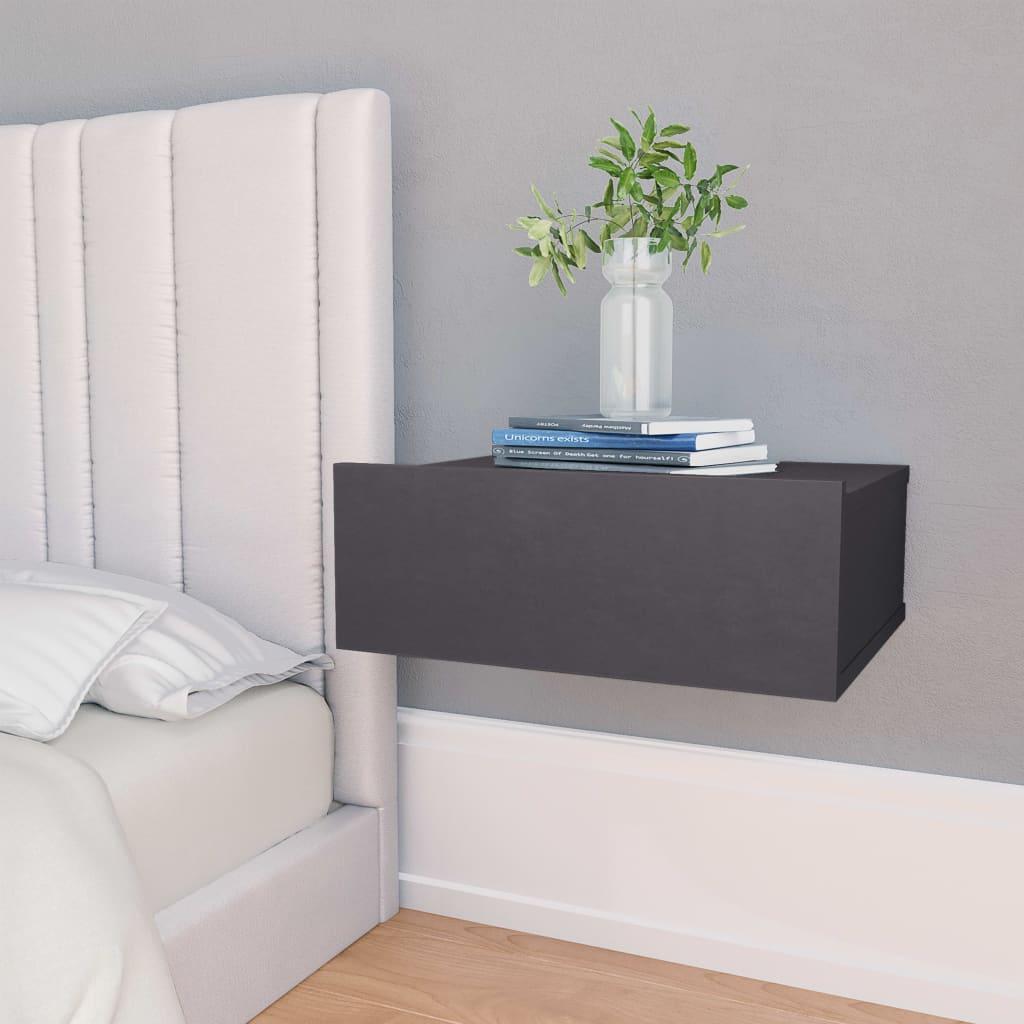 vidaXL svævende natborde 2 stk. 40 x 30 x 15 cm spånplade grå