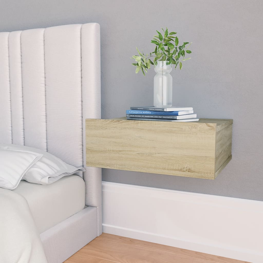 Nástěnný noční stolek dub sonoma 40 x 30 x 15 cm dřevotříska
