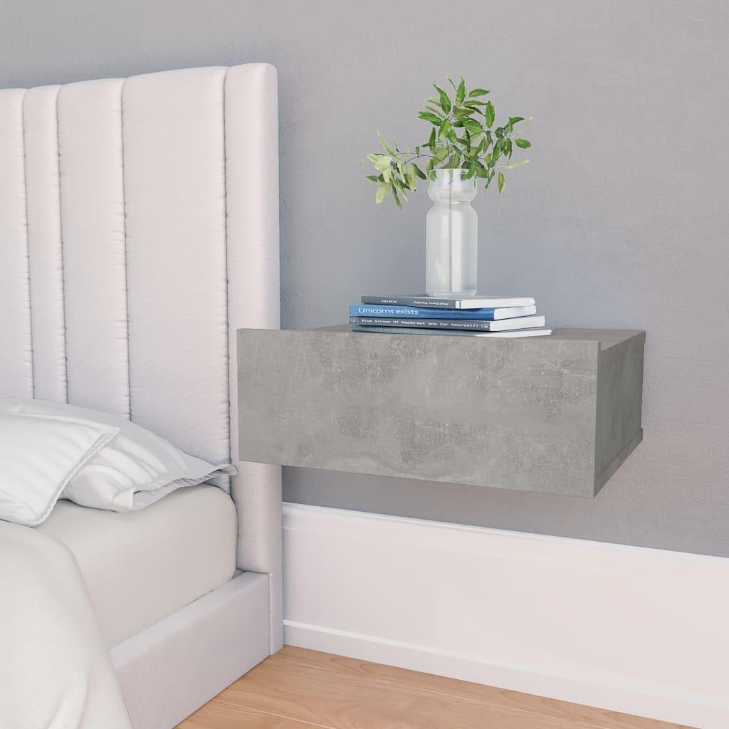 Nástěnný noční stolek betonově šedý 40 x 30 x 15 cm dřevotříska