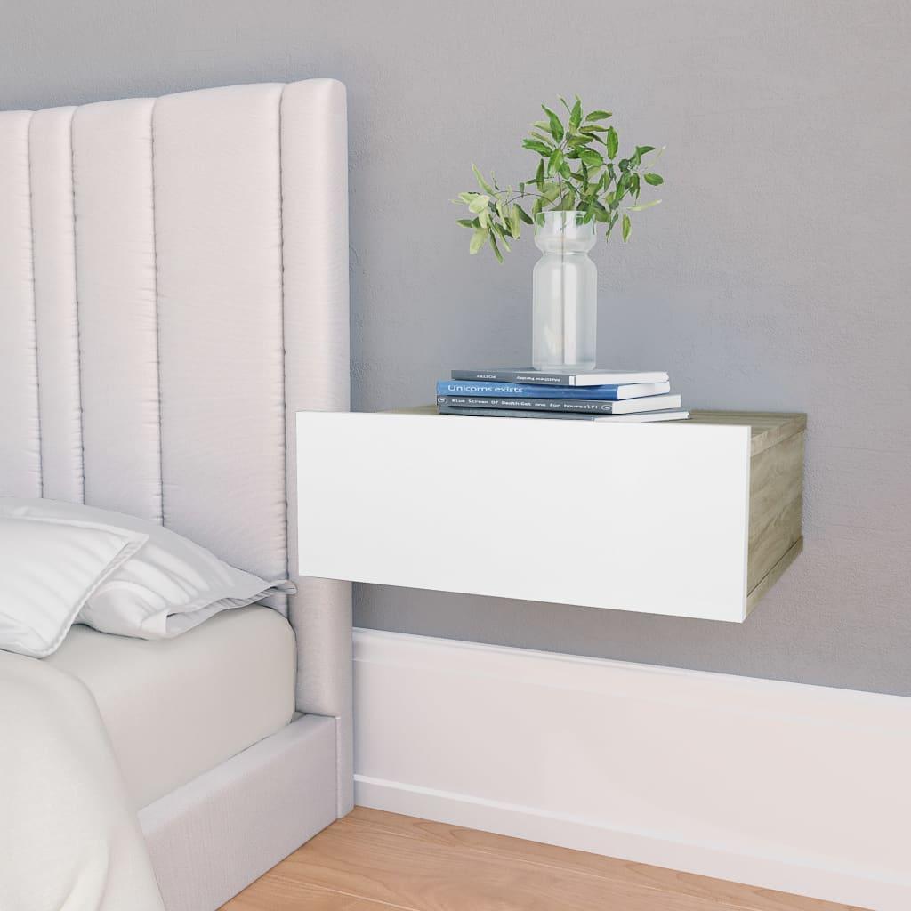 Nástěnný noční stolek bílý a dub sonoma 40x30x15 cm dřevotříska