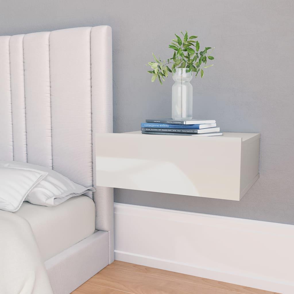 Nástěnný noční stolek bílý vysoký lesk 40x30x15 cm dřevotříska