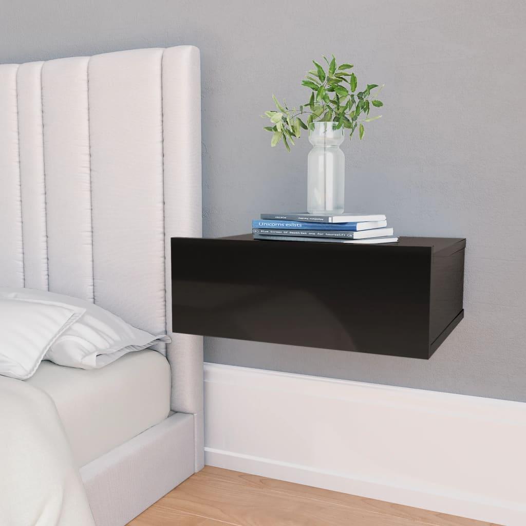 Nástěnný noční stolek černý vysoký lesk 40x30x15 cm dřevotříska