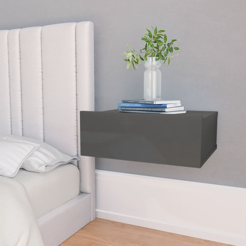 vidaXL svævende natborde 2 stk. 40 x 30 x 15 cm spånplade grå højglans