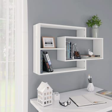 "vidaXL Wall Shelves White 40.9""x9.4""x23.6"" Chipboard[1/6]"