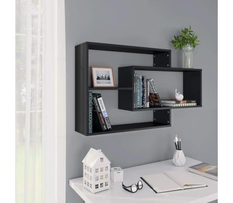 "vidaXL Wall Shelves Black 40.9""x9.4""x23.6"" Chipboard[1/6]"