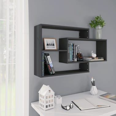 "vidaXL Wall Shelves Gray 40.9""x9.4""x23.6"" Chipboard[1/6]"
