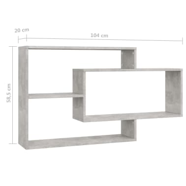 "vidaXL Wall Shelves Concrete Gray 40.9""x9.4""x23.6"" Chipboard[6/6]"