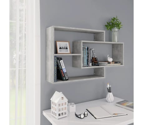 "vidaXL Wall Shelves Concrete Gray 40.9""x9.4""x23.6"" Chipboard[1/6]"