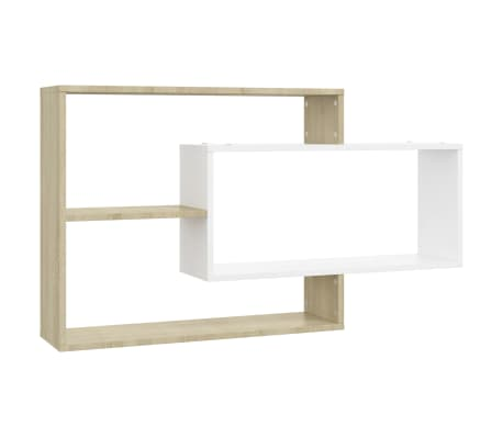 "vidaXL Wall Shelves White and Sonoma Oak 40.9""x7.9""x23.6"" Chipboard"