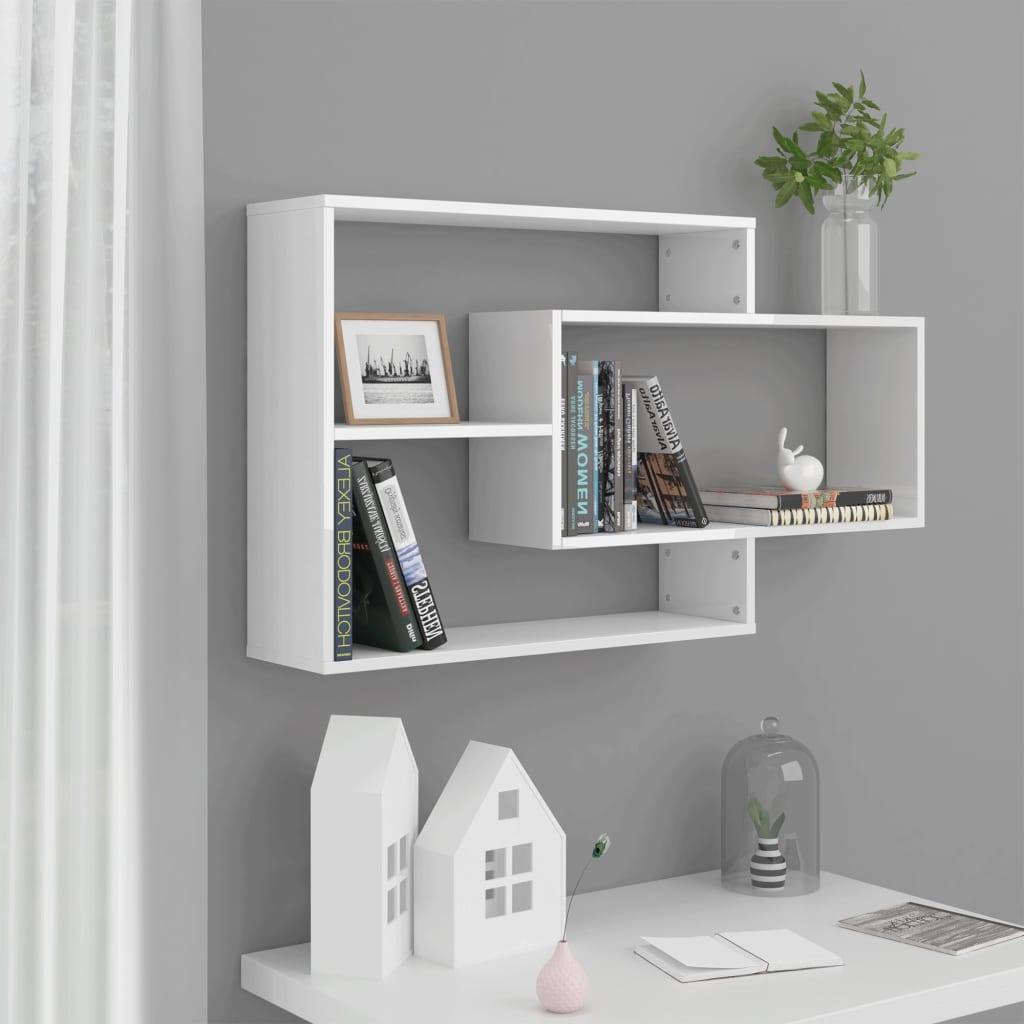 vidaXL Rafturi de perete, alb foarte lucios, 104 x 20 x 60 cm, PAL vidaxl.ro