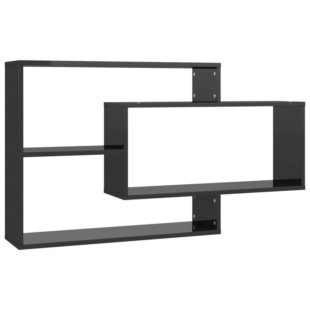 vidaXL Ραφιέρα Τοίχου Γυαλιστερό Μαύρο 104 x 24 x 60 εκ. Μοριοσανίδα