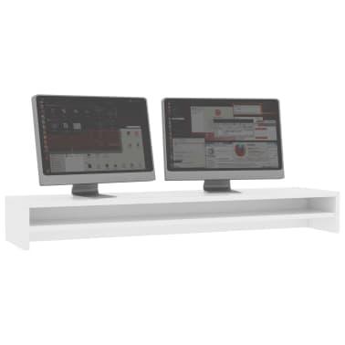vidaXL Monitoriaus stovas, baltos spalvos, 100x24x13 cm, MDP[3/6]