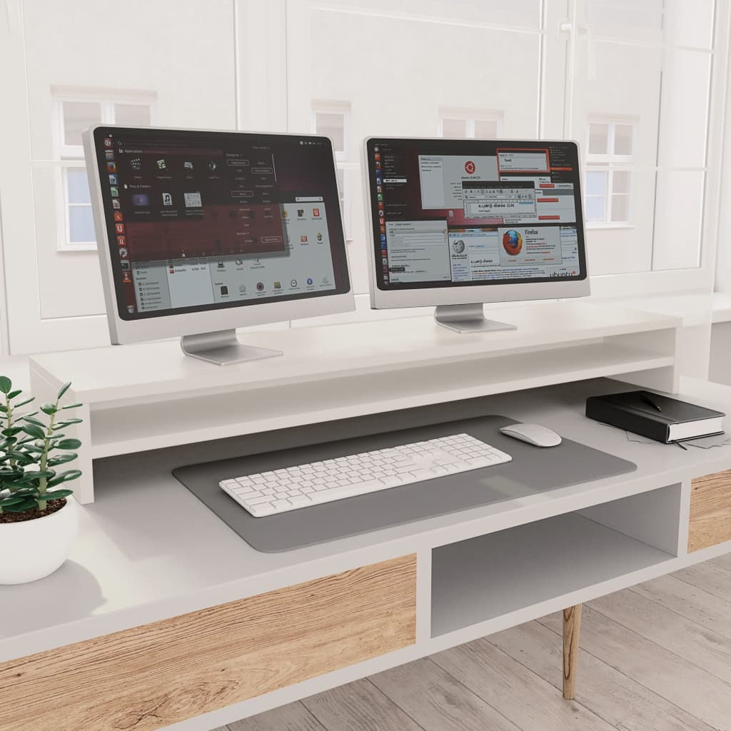 Stojan na monitor bílý 100 x 24 x 13 cm dřevotříska