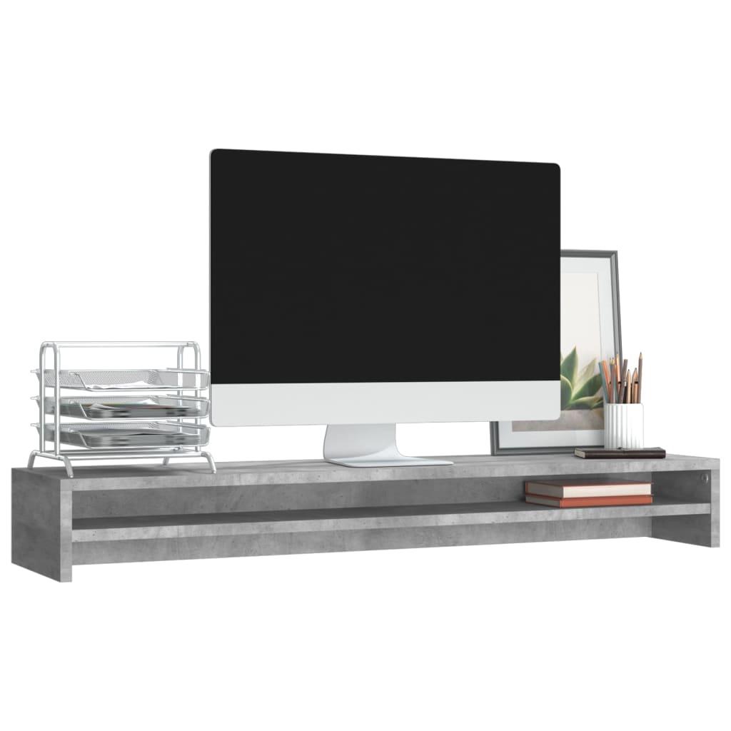 Foto van vidaXL Monitorstandaard 100x24x13 cm spaanplaat betongrijs