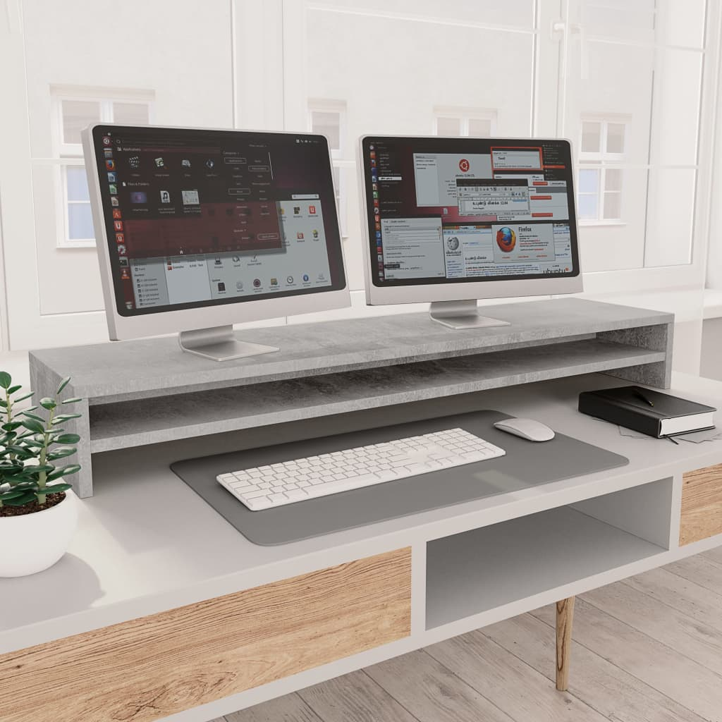 vidaXL Suport monitor, gri beton, 100 x 24 x 13 cm, PAL imagine vidaxl.ro