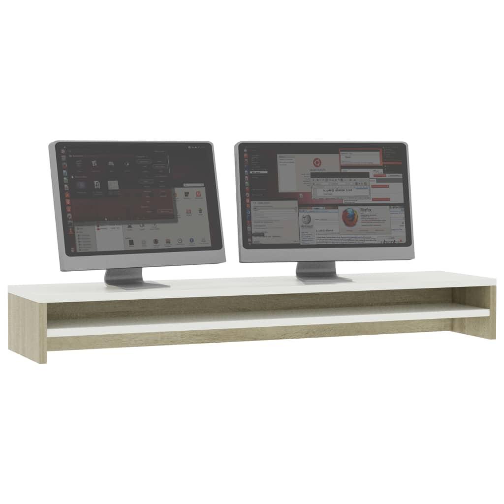 vidaXL Monitorstandaard 100x24x13 cm spaanplaat wit en sonoma eiken