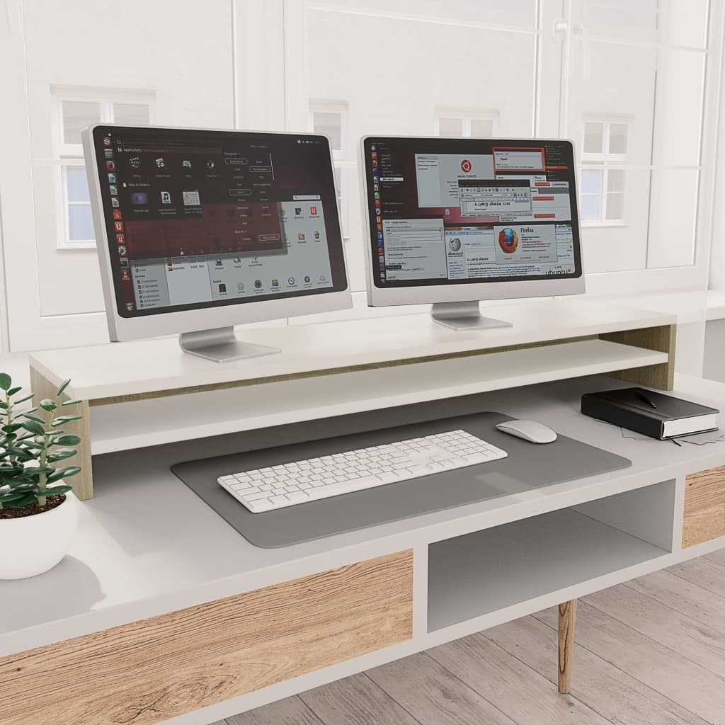 vidaXL Suport monitor, alb și stejar Sonoma, 100x24x13 cm, PAL imagine vidaxl.ro