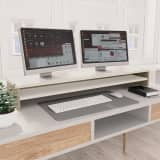 vidaXL Monitor Stand White and Sonoma Oak 100x24x13 cm Chipboard