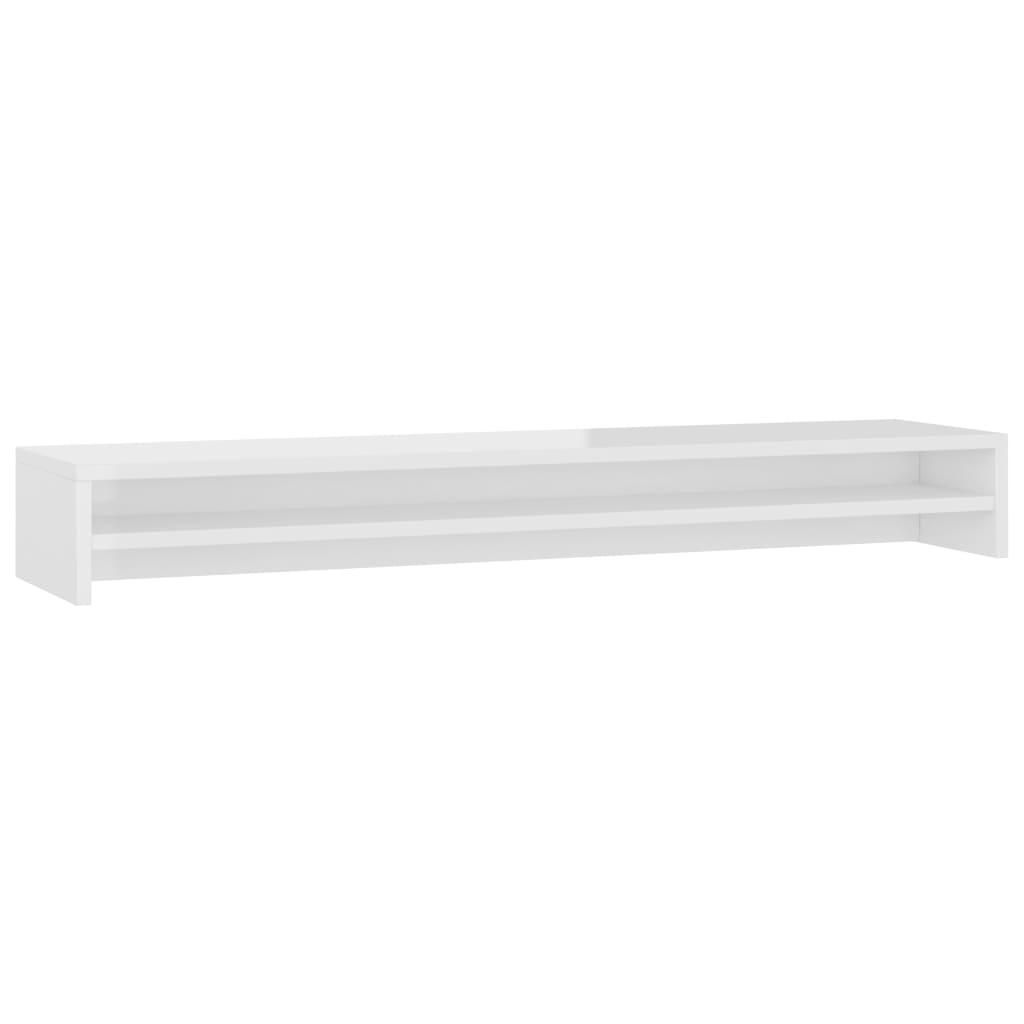 vidaXL Βάση Οθονών Γυαλιστερό Λευκό 100 x 24 x 13 εκ. από Μοριοσανίδα