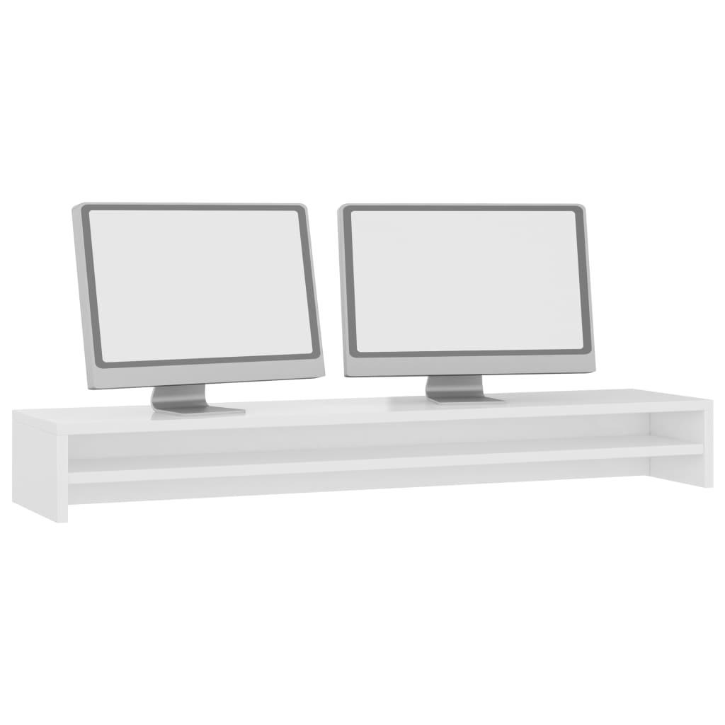 vidaXL Monitorstandaard 100x24x13 cm spaanplaat hoogglans wit