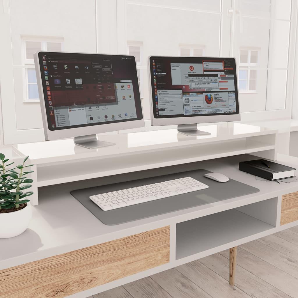Stojan na monitor bílý s vysokým leskem 100x24x13cm dřevotříska