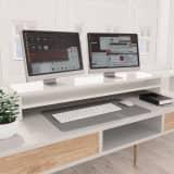 vidaXL Monitor Stand High Gloss White 100x24x13 cm Chipboard