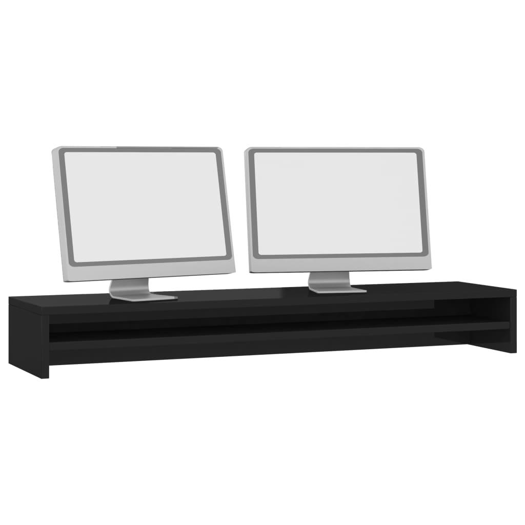 Foto van vidaXL Monitorstandaard 100x24x13 cm spaanplaat hoogglans zwart