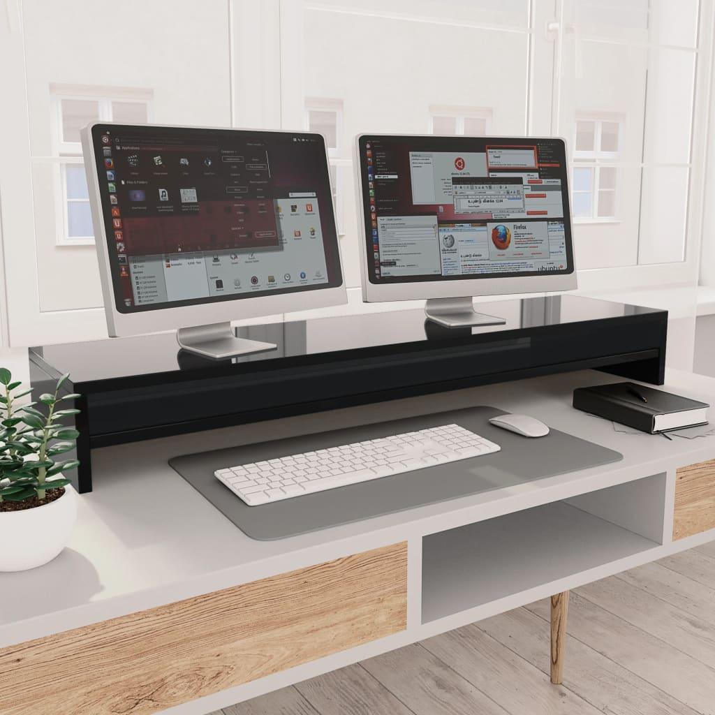vidaXL Suport monitor, negru foarte lucios, 100 x 24 x 13 cm, PAL imagine vidaxl.ro