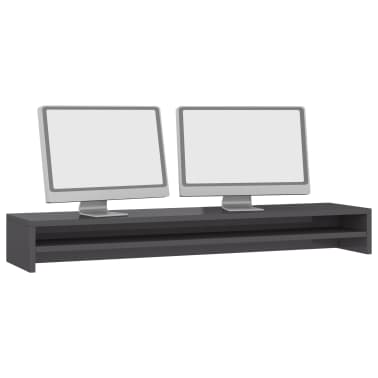 vidaXL Monitoriaus stovas, pilkos spalvos, 100x24x13cm, MDP, blizgus[3/6]