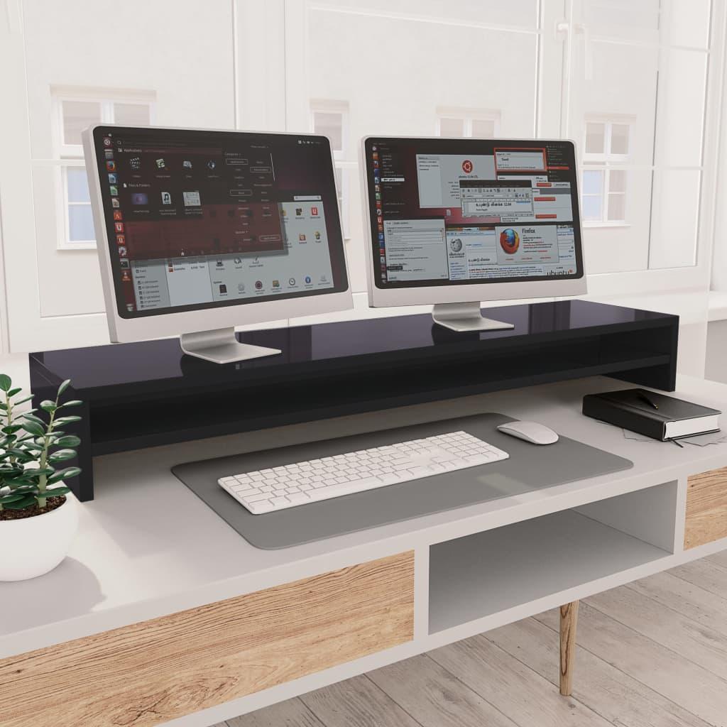 Stojan na monitor šedý vysoký lesk 100x24x13 cm dřevotříska