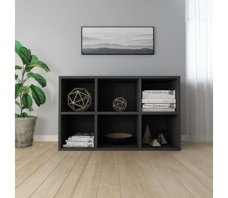 "vidaXL Book Cabinet/Sideboard Black 19.6""x9.8""x31.4"" Chipboard[4/12]"