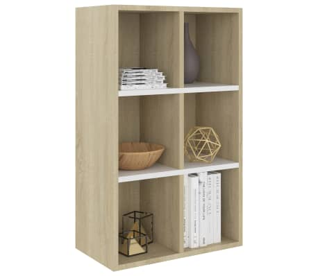 "vidaXL Book Cabinet/Sideboard White and Sonoma Oak 19.6""x9.8""x31.4"" Chipboard[3/12]"