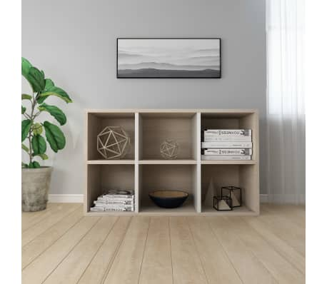 "vidaXL Book Cabinet/Sideboard White and Sonoma Oak 19.6""x9.8""x31.4"" Chipboard[4/12]"
