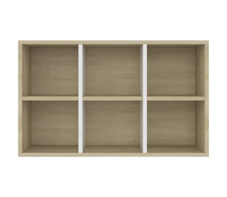 "vidaXL Book Cabinet/Sideboard White and Sonoma Oak 19.6""x9.8""x31.4"" Chipboard[9/12]"