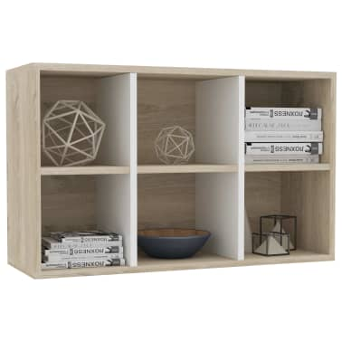 "vidaXL Book Cabinet/Sideboard White and Sonoma Oak 19.6""x9.8""x31.4"" Chipboard[5/12]"