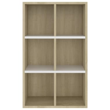 "vidaXL Book Cabinet/Sideboard White and Sonoma Oak 19.6""x9.8""x31.4"" Chipboard[6/12]"