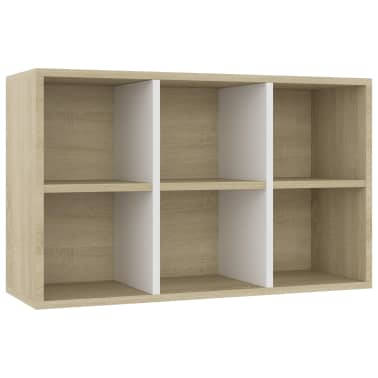 "vidaXL Book Cabinet/Sideboard White and Sonoma Oak 19.6""x9.8""x31.4"" Chipboard[8/12]"