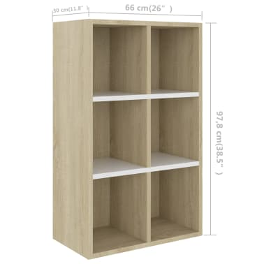 "vidaXL Book Cabinet/Sideboard White and Sonoma Oak 19.6""x9.8""x31.4"" Chipboard[11/12]"