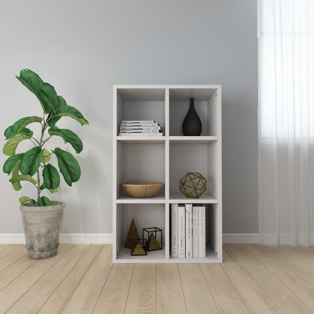 vidaXL Regał na książki/szafka, wysoki połysk, biały, 50x25x80 cm