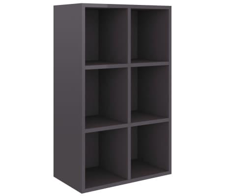 vidaXL Boekenkast/dressoir 66x30x97,8 cm spaanplaat hoogglans grijs