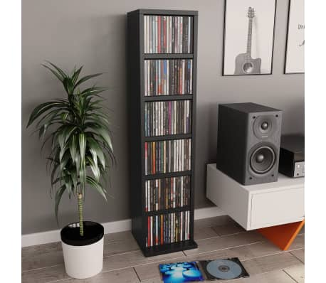 "vidaXL CD Cabinet Black 8.3""x6.3""x34.6"" Chipboard[1/6]"