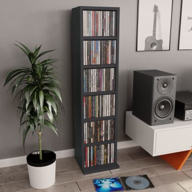"vidaXL CD Cabinet Gray 8.3""x6.3""x34.6"" Chipboard[1/6]"