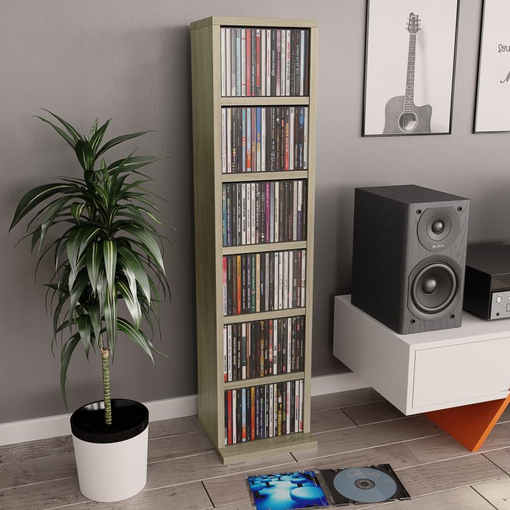 vidaXL Dulap CD-uri, stejar Sonoma, 21 x 20 x 88 cm, PAL imagine vidaxl.ro