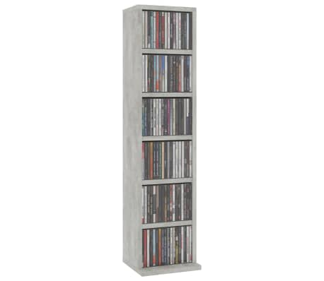 "vidaXL CD Cabinet Concrete Gray 8.3""x6.3""x34.6"" Chipboard[3/6]"