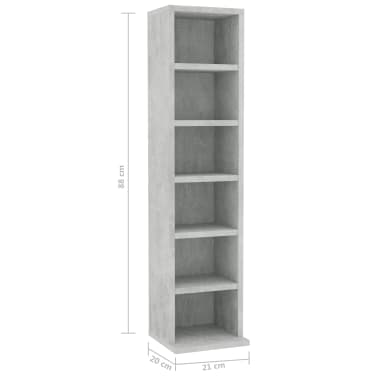 "vidaXL CD Cabinet Concrete Gray 8.3""x6.3""x34.6"" Chipboard[6/6]"